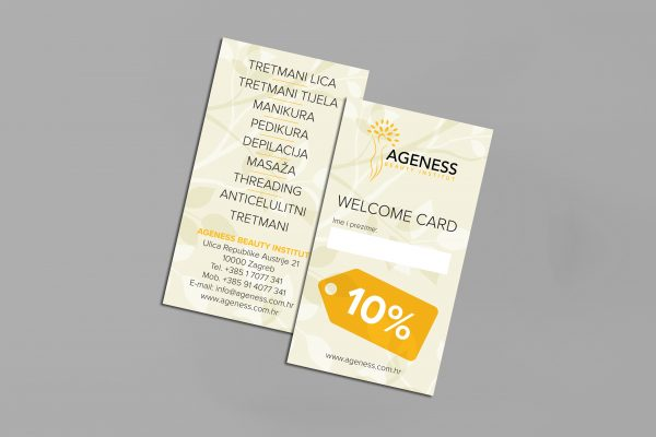 Ageness welcome card
