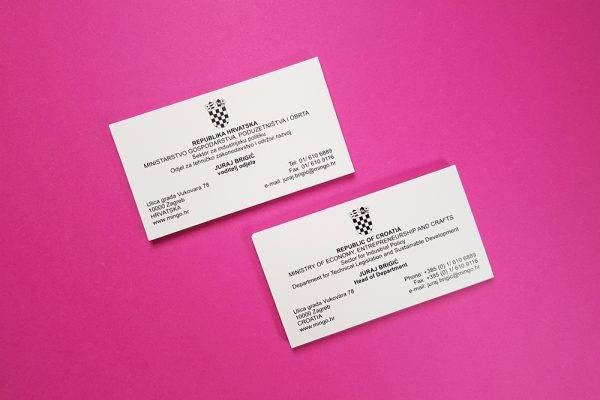 Ministry of Economy, Entrepreneurship and business cards